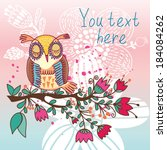cute greeting card with sweet... | Shutterstock .eps vector #184084262