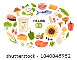 collection of vitamin b6 food ... | Shutterstock .eps vector #1840845952
