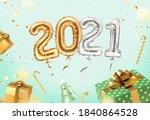 2021 golden decoration holiday...   Shutterstock .eps vector #1840864528