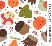 autumn seamless pattern  cute... | Shutterstock .eps vector #1840877665
