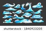 Sea Ocean Wave Set. Blue Water...