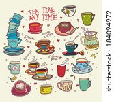 tea time any time color... | Shutterstock .eps vector #184094972
