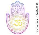 colorful hamsa hand drawn... | Shutterstock .eps vector #1840966852