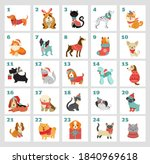 christmas advent calendar with... | Shutterstock .eps vector #1840969618