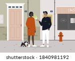 two neighbours chatting on the... | Shutterstock .eps vector #1840981192