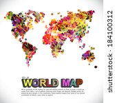 colorful   dotted world map | Shutterstock .eps vector #184100312