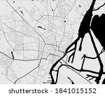 Urban city map of Szczecin. Vector illustration, Szczecin map grayscale art poster. Street map image with roads, metropolitan city area view.