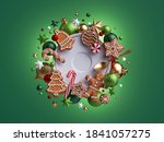 3d Render  Christmas Flat Lay...