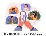 hands holding smartphones with... | Shutterstock .eps vector #1841064232