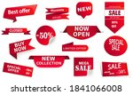 set of red ribbons  banners.... | Shutterstock .eps vector #1841066008
