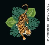 japanese tigers with tropical... | Shutterstock .eps vector #1841072782