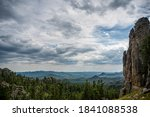 HDR view of Needles Highway - Cathedral Spires in the Black Hills of South Dakota - stock photo