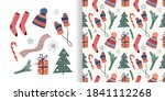 christmas set with seamless... | Shutterstock .eps vector #1841112268