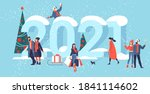 flat design christmas and new... | Shutterstock .eps vector #1841114602
