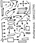 set of doodle arrows  hand... | Shutterstock . vector #184112795