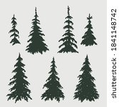 christmas trees set in the flat ...   Shutterstock .eps vector #1841148742