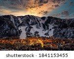 Aspen city skyline with dramatic sunset