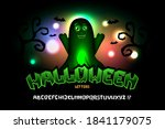halloween font with cute ghost. ... | Shutterstock .eps vector #1841179075