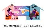 people in virtual halloween... | Shutterstock .eps vector #1841213662