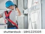 Caucasian Contractor Worker In...