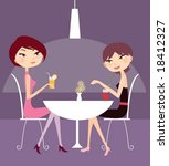 two girl drink and talk   Shutterstock .eps vector #18412327