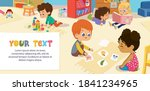 kids playing with bricks and... | Shutterstock .eps vector #1841234965