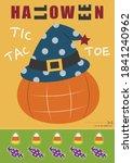 halloween pumpkin tic tac toe... | Shutterstock .eps vector #1841240962