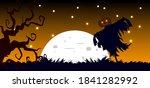 scarecrow in full moon night... | Shutterstock .eps vector #1841282992