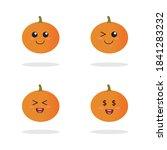 set pumpkin on white background.... | Shutterstock .eps vector #1841283232