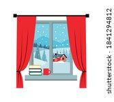 window overlooking the winter... | Shutterstock .eps vector #1841294812