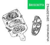 italian bruschetta hand drawn... | Shutterstock .eps vector #1841309962