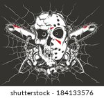 skull and chainsaw | Shutterstock .eps vector #184133576