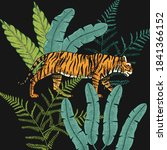 japanese tigers with tropical... | Shutterstock .eps vector #1841366152