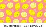 lemon colorful seamless pattern.... | Shutterstock .eps vector #1841390725