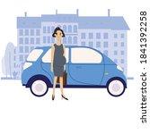 pregnant businesswoman stands... | Shutterstock .eps vector #1841392258