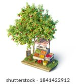 fruits and veggies stall and...   Shutterstock . vector #1841422912