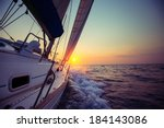 sail boat with set up sails... | Shutterstock . vector #184143086