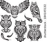set of five decorative black... | Shutterstock .eps vector #184145132