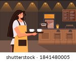 cafe waiter woman character... | Shutterstock .eps vector #1841480005