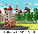 fairytale scene with castle and ... | Shutterstock .eps vector #1841572108