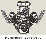 hot rod engine  | Shutterstock .eps vector #184157672