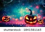 happy halloween three pumpkin... | Shutterstock . vector #1841581165