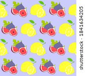 pattern yellow lemon and fig...   Shutterstock .eps vector #1841634205
