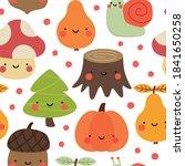 autumn seamless pattern  cute... | Shutterstock .eps vector #1841650258