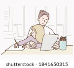 young mother with child working ... | Shutterstock .eps vector #1841650315