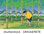 agriculturist rubber tapping ... | Shutterstock .eps vector #1841669878