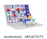 young woman having video... | Shutterstock .eps vector #1841673175