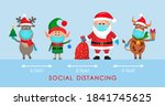 santa claus in a hat with a bag ... | Shutterstock .eps vector #1841745625