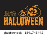 happy halloween text with cute... | Shutterstock .eps vector #1841748442