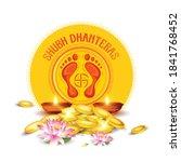 happy dhanteras  gold coin in...   Shutterstock .eps vector #1841768452